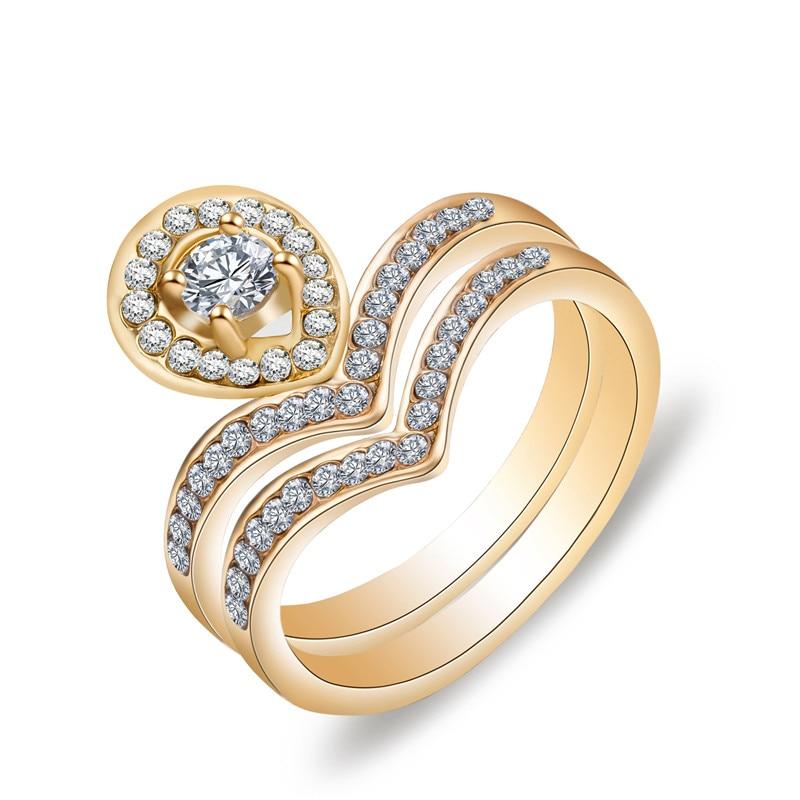 2017 New 18KGP Crown ring set Shiny CZ gold rings for women Design ...