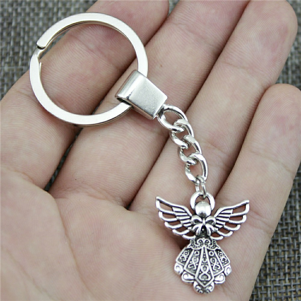 26x23mm Angel Key Ring Vintage New Fashion Metal Key Chain Party Gift Dropshipping Jewellery
