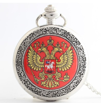 2017 Vintage Bronze Silver  Russia's Double-headed Eagle Quartz Pocket Watch Men Women Russia Style Pendant Watches High Quality