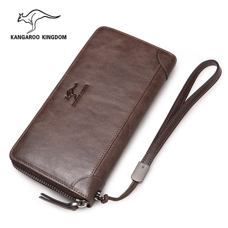 KANGAROO KINGDOM luxury men wallets brand genuine leather long zipper purse clutch bag