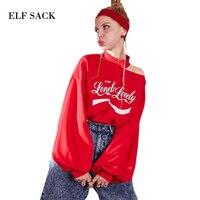 ELF SACK 2018 Summer Women Letter Prints Off Shoulder Sexy Sweatshirt Korea Loose Kpop Casual Top