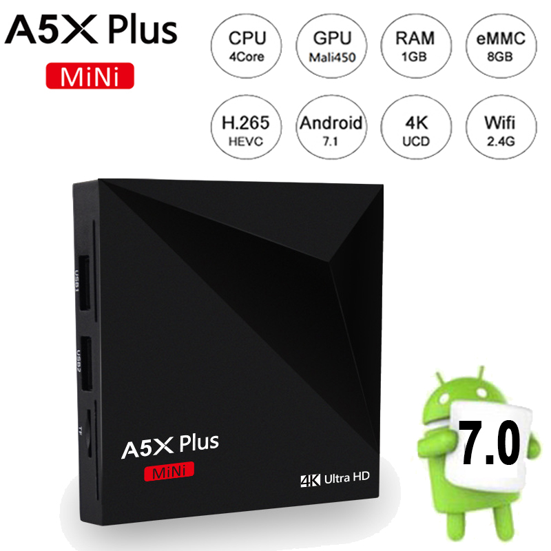 цены A5X Plus Mini Android 7.1 TV BOX Rockchip RK3328 Quad Core 1GB/8GB Android TV BOX WiFi UHD 4K 2K HDR 10 VP9 Smart Media Player