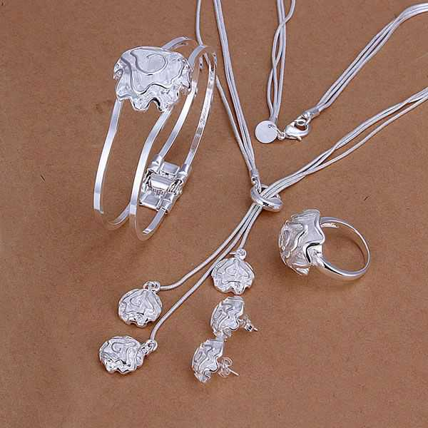 S294 925 sterling silver jewelry set, fashion jewelry set Rose Ring Stud Earrings Bangle Necklace S294 /aokajfra geoaovva