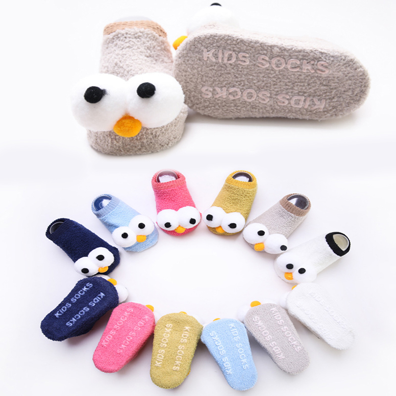 Cute Baby Big Eyes Socks Soft Non-slip Spring Autumn Cute Infant Socks Toddler Comfortable Floor Socks Suitable For 0-3Y