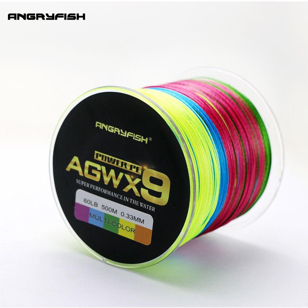 купить ANGRYFISH 9 Strands Weaves Braided 500M Multicolor Fishing Line Super Strong PE Line 15LB-100LB по цене 3410.91 рублей