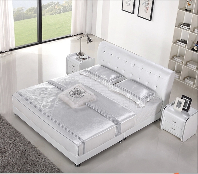Copetudo diamante diamante China moderna muebles de dormitorio moderno cama de cuero genuino