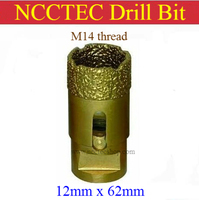 [M14 chủ đề] 12 mét đường kính NCCTEC Kim Cương Hút Chân Không Brazed khoan Bits CD12VBM14 MIỄN PHÍ vận chuyển   0.47 '' 1/2 '' khoan wet cụ coring