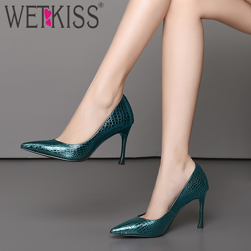 WETKISS Print Genuine Leather Women Pumps Pointed Toe Footwear Shallow Female Shoes High Heels Shoes Woman 2019 Spring Green