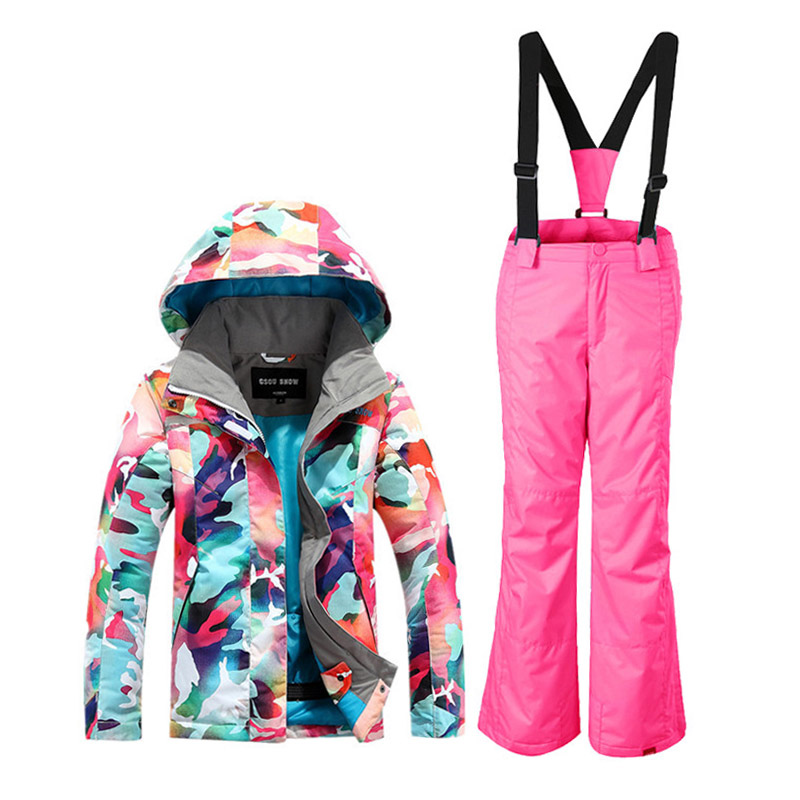 GSOU SNOW Childrens Ski Suit Color Camouflage Girl Ski Suit Windproof Warm Waterproof Breathable Ski Jacket +Ski TrousersGSOU SNOW Childrens Ski Suit Color Camouflage Girl Ski Suit Windproof Warm Waterproof Breathable Ski Jacket +Ski Trousers