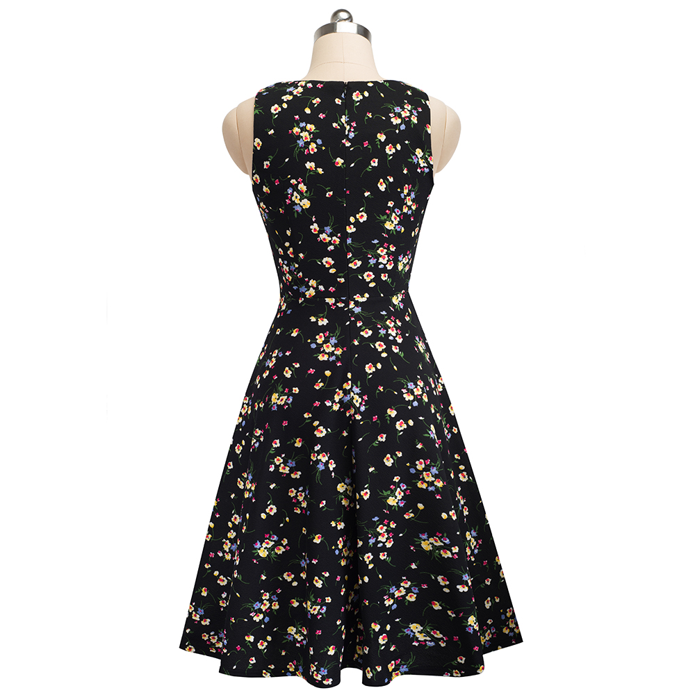 Nice-forever Vintage Elegant Embroidery Floral Lace Patchwork vestidos A-Line Pinup Business Women Party Flare Swing Dress A079 80