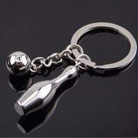 Wholesale New Design Silver Color Bowling Keychain For Women Men Innovative Gadget Souvenir Gift Key Ring