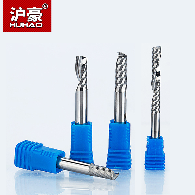 HUHAO  2pcs/lot Shank 6mm CNC Router Bit Single Flute Spiral Cutter  End Mill Carbide Milling Cutter For Wood Acrylic PVC MDF 5pcs woodworking 3 flute shank 6mm cnc router bits mill spiral cutter tungsten carbide density board carving tools cel 22mm