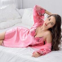 Xifenni Gewaad Sets Vrouwelijke Sexy Satijn Zijde Nachtkleding Vrouwen Kant V hals Borduurwerk Faux Zijde Badjassen Tweedelige Thuis Kleren x8204
