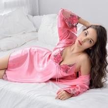 Xifenni ローブセット女性のセクシーなサテンシルクパジャマ女性のレース V ネック刺繍フェイクシルクのバスローブツーピースホーム服 x8204