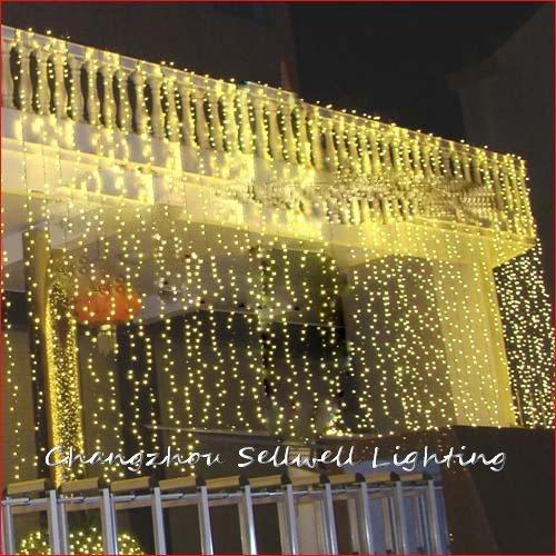 Led star lbulb wedding celebration product 3*8m yellow curtain lamp H260