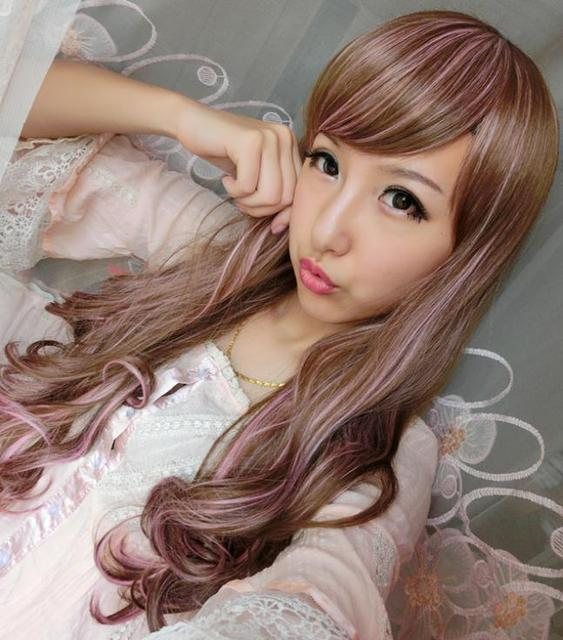 Fashion Light Brown Mix Pink Cosplay Wig Long Wavy Fluffy Women Hair