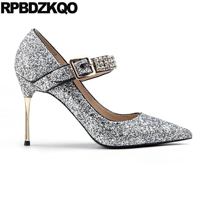 De Bling Mariage Or Mousseux Scarpin Glitter Taille Diamant Strass Chaussures Pointu Mariée Orteil Femmes Argent 34 Pompes Bal Robe 33 argent 4 8TfqHv8