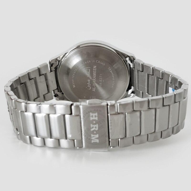 Islamic Qibla Watch for All Muslim Harameen Azan Wristatch for Couple with Pray Time HRM Ramadan Clock S Steel 100% Original