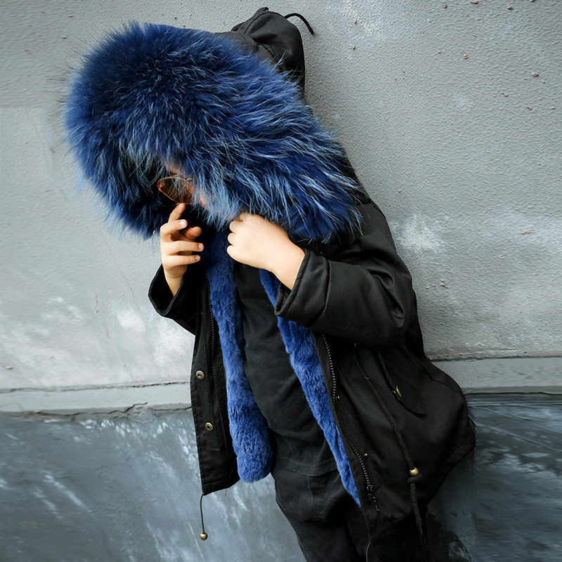 New Winter Girls Fur Warm Jackets Boys Rabbit Fur Liner Coats Children Thick Outerwear Girls Big Raccoon Fur Hooded Parkas G105 купить в Москве 2019