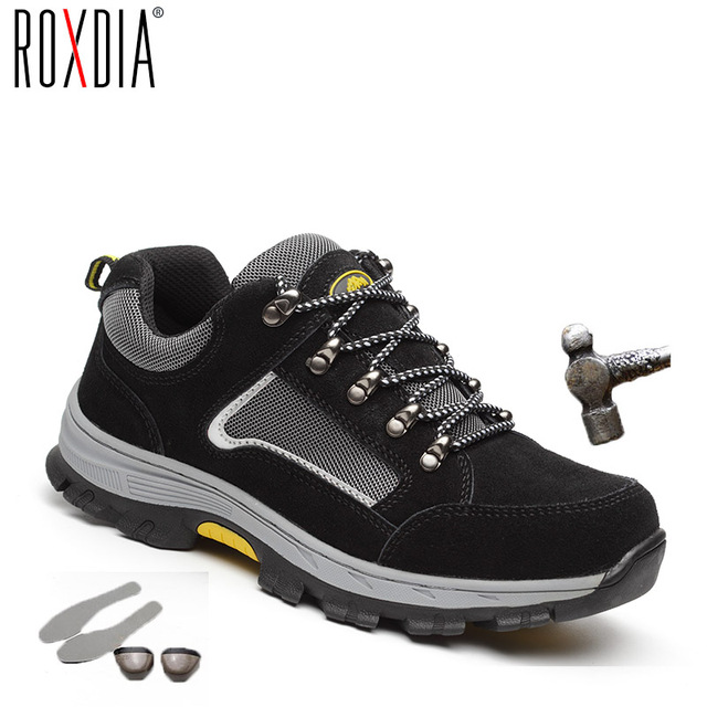 ROXDIA brand plus size 39-48 women men work & safety boots genuine leather steel toecap impact resistant man ladies shoes RXM114