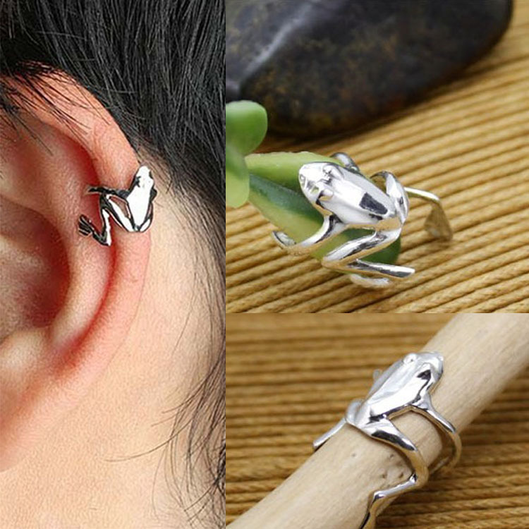 Chic 1pc Punk Stylish Gold Silver Alloy Frog Cuff Ear Clip Wrap Earring Women Men Jewelry Free Shipping EAR-0158