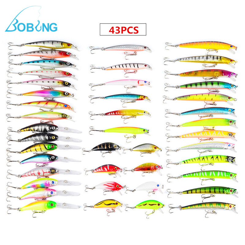 43pcs/lot Mixed Minnow Lure Wobbler Carp 6 Models Lure Crank Bait Tackle Assorted Fishing Lures Fishing Tackle Box Accessories