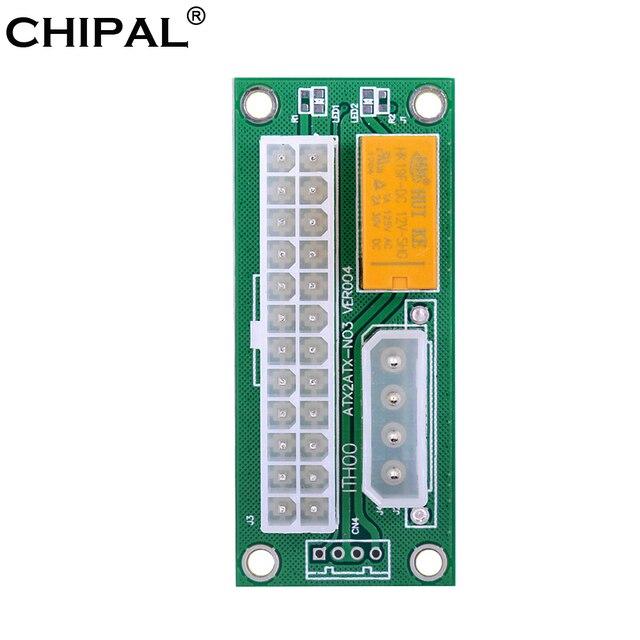 CHIPAL Dual PSU מתאם ATX 24Pin כדי 4Pin SATA כוח סנכרון Starter כרטיס הארכת כבל ADD2PSU Riser עבור Bitcoin כרייה כורה