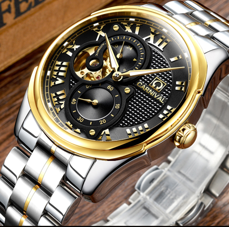Luxury  Carnival watch men skeleton sapphire Gold stainless steel waterproof Automatic machine black watch relogio masculine ultra luxury 2 3 5 modes german motor watch winder white color wooden black pu leater inside automatic watch winder