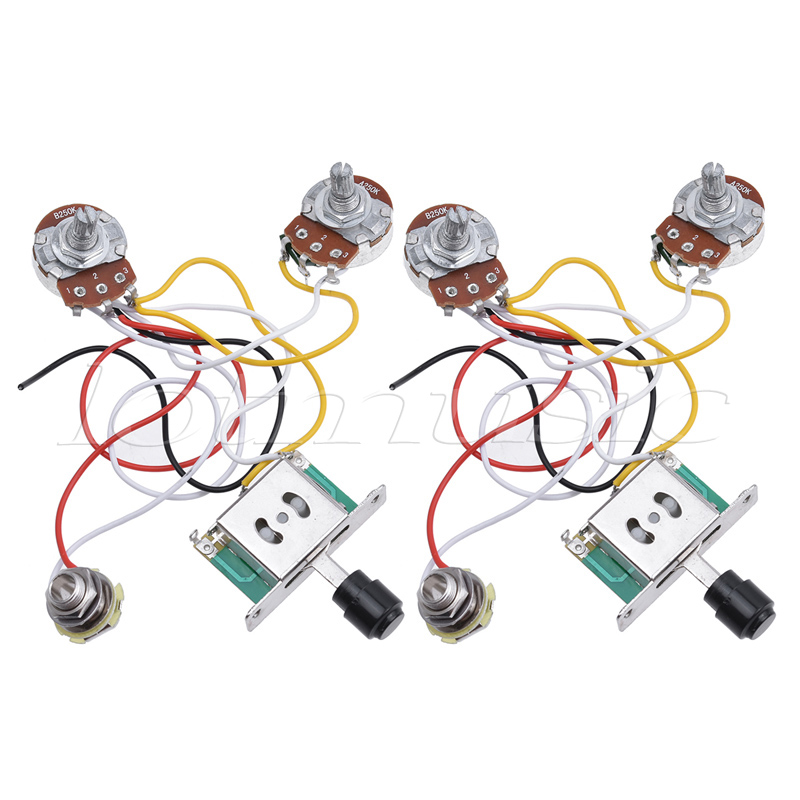 electric guitar prewired wiring harness kit for electric guitar parts 3 way toggle switch 250k. Black Bedroom Furniture Sets. Home Design Ideas