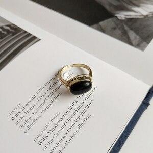 Image 4 - LouLeur Bạc 925 Nguyên Bản Mã Não Đen Mở Nhẫn Vàng Tính Khí Thiết Kế Sang Trọng Cho Nữ, Nhẫn Nữ Lễ Hội Trang Sức