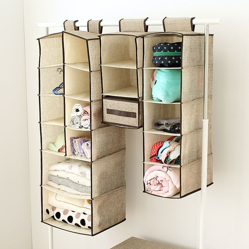 New Non Woven Fabric Folding Underwear Storage Box Bedroom: Wardrobe Hanging Storage Bag Multilayer Hanging On The