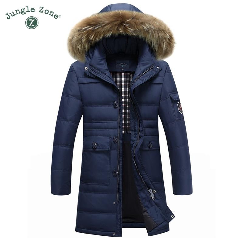 JUNGLE ZONE 4XL Winter down coat multi-pocket down Jacket Winter Long coat for men casual fur collar <font><b>White</b></font> duck down coats