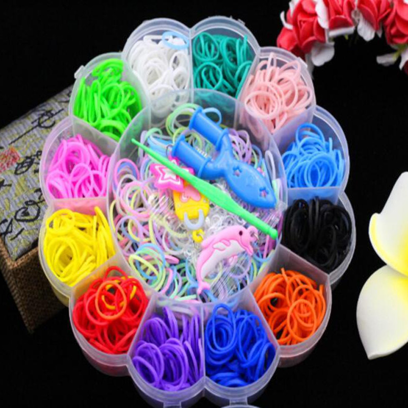New Cartoon Mini Suit Small Box Circle DIY Rubber Band Weaving Machine Toys