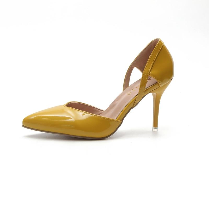 Femmes Peu Verni 2018 A Creux Nouveau Profonde Chaussures Cuir Simples Été Talon Mode Stiletto Beige Haut jaune En noir vvS0q