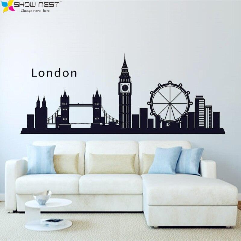 London England Skyline City Wall Decal <font><b>Sticker</b></font> Vinyl Wall <font><b>Art</b></font> <font><b>Mural</b></font> <font><b>Home</b></font> Decor, Living Room, Bedroom, Kitchen Wallpaper Design