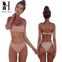 YANG HUA Pure Color Bikini Set 2018 New Swimsuit Women Sexy High Waist Bikini Push Up