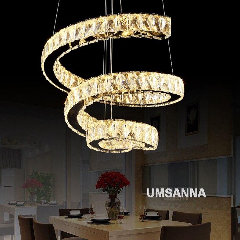 Espiral Dimmable LEVOU Lustres De Cristal Modernos Luzes do Candelabro Luminária 3 Cores Escurecimento Lâmpadas Penduradas Iluminação Interna do Repouso