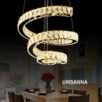 LED Modern Crystal Chandeliers Dimmable Spiral Chandelier Lights Fixture 3 Colors Dimming Hanging Lamps Home Indoor
