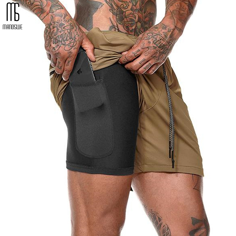 Manoswe Casual Drawstring Running Shorts Men Gym Finess Shorts Quick Dry Training Jogging Short Pants Sportswear Sport Shorts