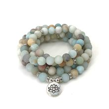 Fashion Women bracelet Matte Frosted Amazonite beads with Lotus OM Buddha Charm Yoga Bracelet 108 mala necklace dropshipping(China)