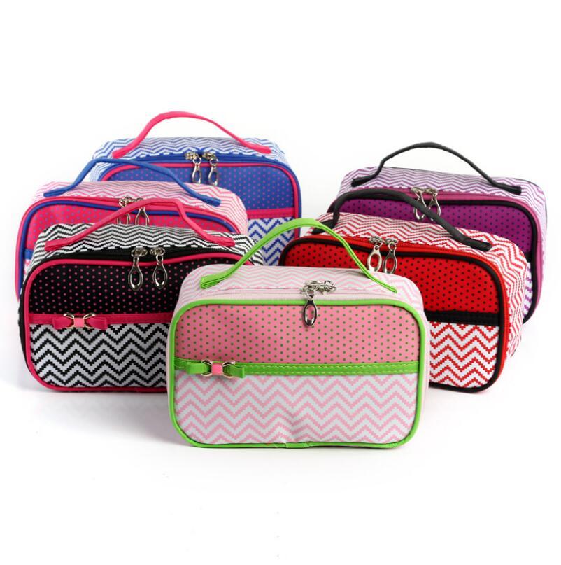 Travel Cosmetic Bag Women Waterproof Dot stripes Makeup Bags Beauty Cases Toiletry Bag Bath Wash Handbag Tote Organizer цена