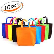 Tote Gift  Non-woven Polyester Reusable Bags set of 10 packs 10.2*13 Rainbow Assorted Color