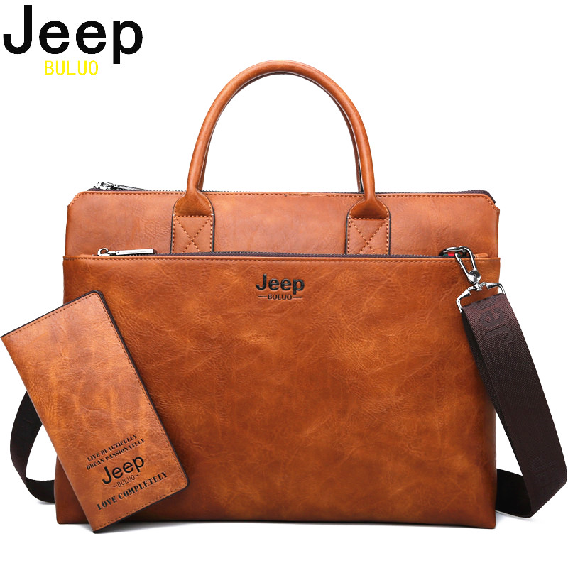 JEEP BULUO High Quality Men Briefcases Set For 14 inch Laptop Business Bags Handbags Leather Office