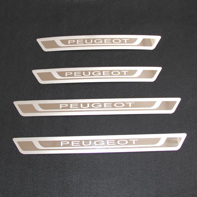 Frete Grátis Para Peugeot 206 207 307 3008 408 508 Porta de Aço Inoxidável Pratos de Chinelo Peitoril Guardas Protetor Capa Guarnição
