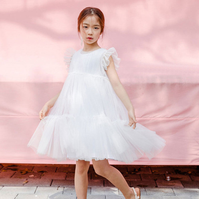 ca39b2908 Bebé grande niñas vestido 2018 verano malla princesa vestidos para niños  pétalo manga bola niños Elegante