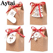 Aytai 4Pcs/Set Retro Christmas Kraft Paper Gift Bags With White Tags Red Snowflake Ribbon Xmas New Year Party Candy Cookie Box