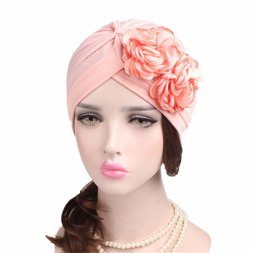 1 Pc Vrouwen Elastische Tulband Fahsion Moslim Islamitische Hijab Dubbele Bloem Beanie Chemo Kanker Hoed Hoofd Sjaal Hoofddeksels Haar Accessoires Voldoende Aanbod