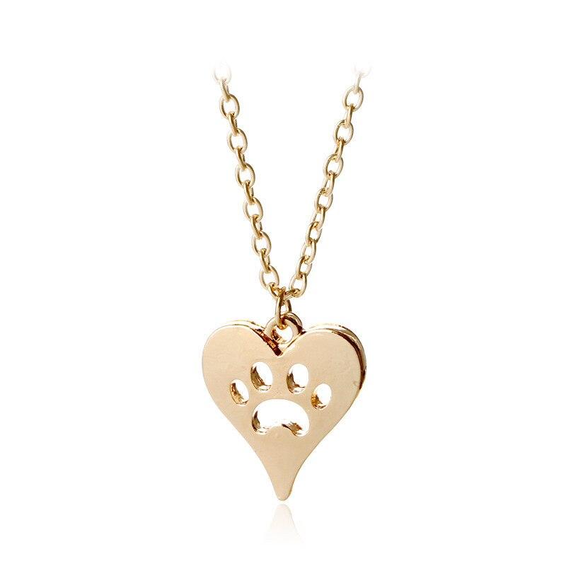 Европейский Симпатичные Сплав сердце Собака Paw заявление ожерелья 10 фото оптом модные «любящее сердце» собака когти кулон ожерелья для жен... ...