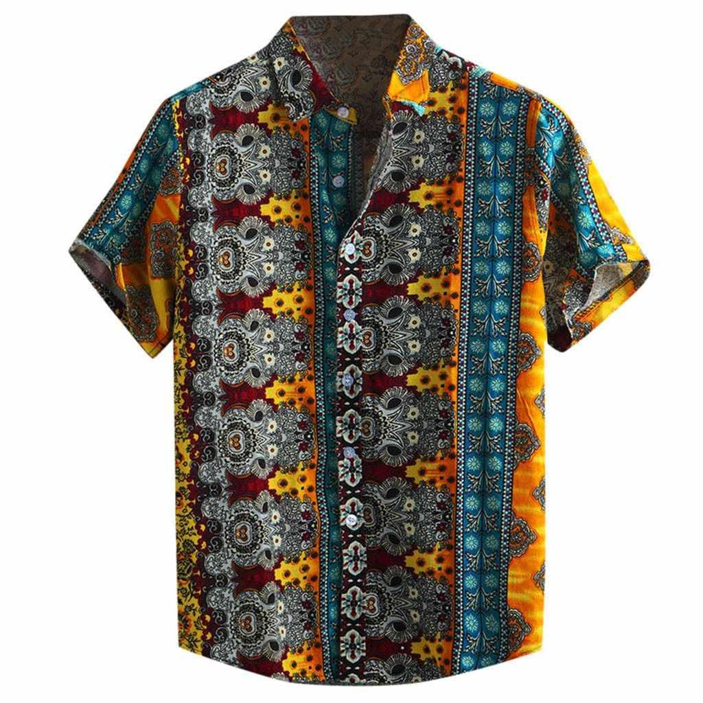 2019 camiseta hombre 5XL рубашки больших размеров для мужчин 2019 Повседневная хлопковая блузка с принтом и топы Гавайские дышащие повседневные рубашки