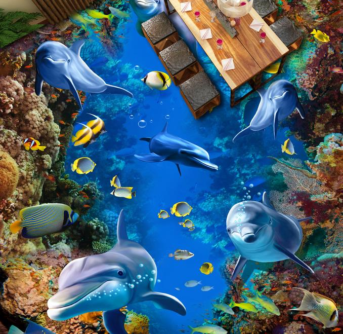 3d flooring waterproof mural wallpape The underwater world 3d floor stereoscopic wallpaper floor murals wallpaper european